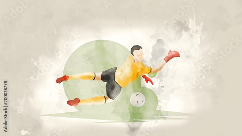 Fotobehang Bol Creative abstract soccer player. Soccer goalkeeper catches the ball. Watercolor background. Retro style
