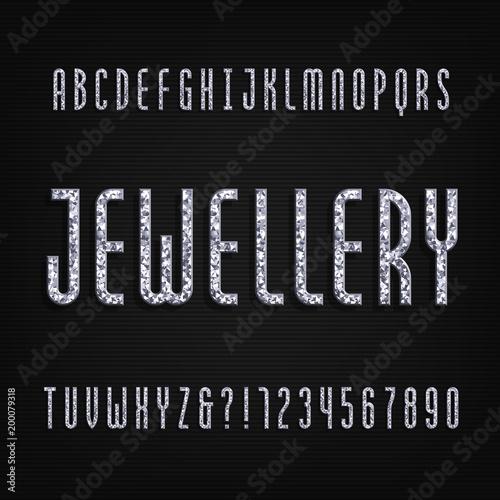 Czcionka alfabetu kryształu diamentu Luksusowe litery i cyfry biżuterii. Pień wektorowy krój.