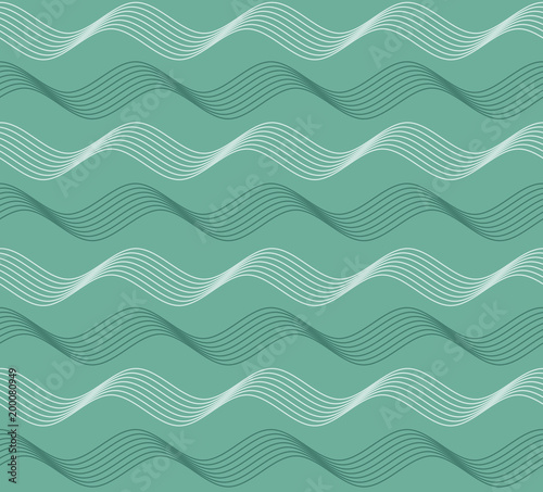 Foto op Plexiglas Abstract wave Modern green seamless patter with waves