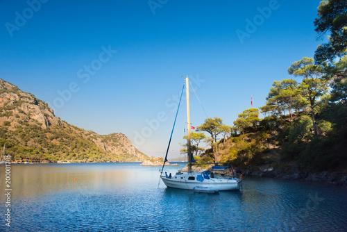 yacht in Mediterranean Sea Marmaris, Turkey