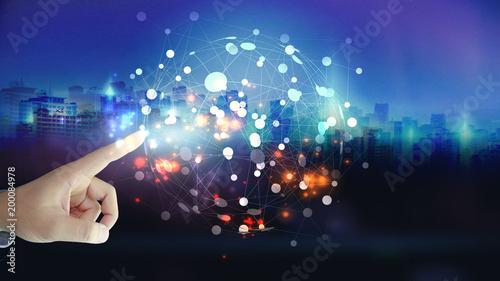 Foto Murales Global network concept.