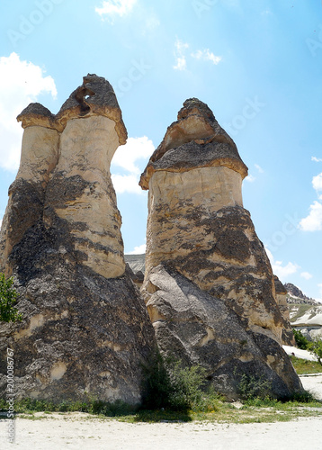 Fotobehang Blauwe hemel a quaint form of rock in the valley of Pasha Baglari. Cappadocia. Turkey