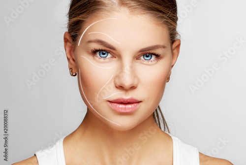 Portrait of young female with perfect smooth skin. Concept of cosmetology, facial massage and lifting effect.