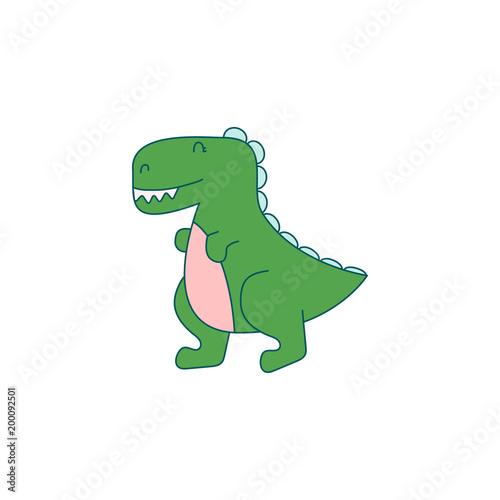 Funny dino cartoon vector illustration.