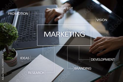 Fridge magnet Marketing business concept on the virtual screen.