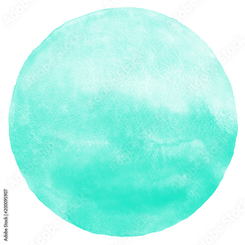 obraz PCV Mint green gradient watercolor circle isolated on white. Abstract round shape background. Watercolour stains aquarelle texture.