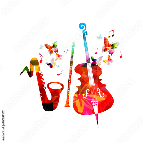 Music colorful background with saxophone, clarinet and violoncello. Music festival poster. Music instruments isolated vector illustration © abstract