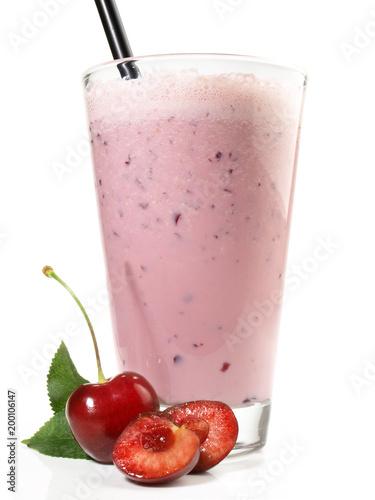 Fotobehang Milkshake Milchshake mit Kirschen