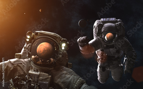 Fotobehang Nasa Arrival to Mars. Solar System. Astronauts. Image in 5K resolution for desktop wallpaper. Elements of the image are furnished by NASA