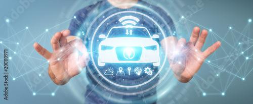Businessman using modern smart car interface 3D rendering - 200110971