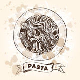 Spaghetti pasta with cherry tomatoes and basil. Dish of Italian cuisine. Ink hand drawn Vector illustration. Top view. Food element for menu design. - 200111513
