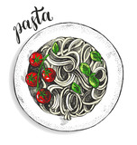 Spaghetti pasta with cherry tomatoes and basil. Dish of Italian cuisine. Ink hand drawn Vector illustration. Top view. Food element for menu design. - 200111566