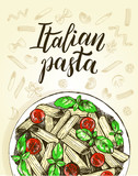 Penne pasta with cherry tomatoes and basil. Dish of Italian cuisine. Ink hand drawn background with brush calligraphy style lettering. Vector illustration. Top view. Food elements collection. - 200111944