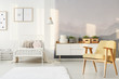 Yellow and white child's bedroom