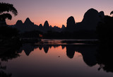 Beautiful karst mountains and Li river in Xingping after sunset. - 200113961