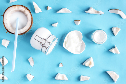 concept organic cosmetics with coconut on blue background top vi - 200114596