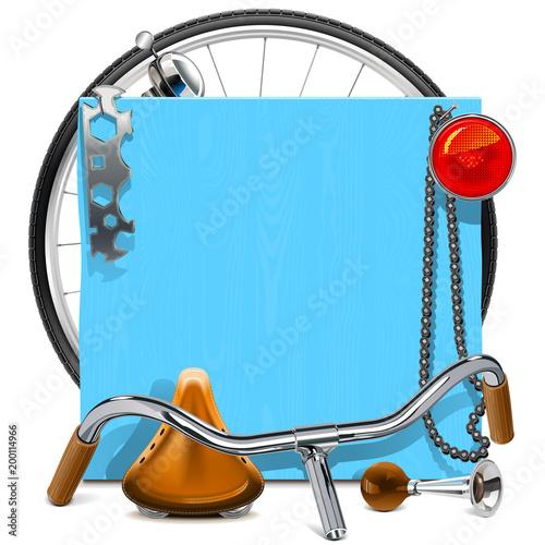 Wektor niebieski deska z części zamiennych rowerów