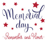 Memorial Day Lettering. Remember and Honor. Elements for invitations, posters, greeting cards - 200115157