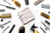 hairdressing concept with barber tools on white background top v
