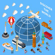 Tourist Discoveries Isometric Composition