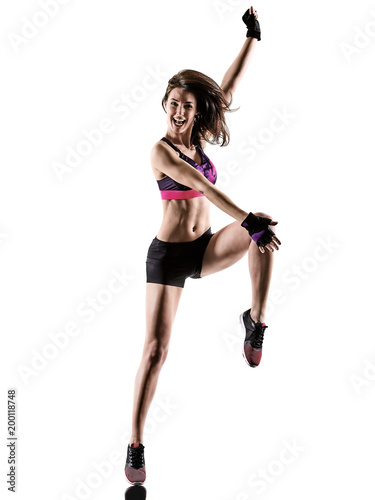 Aluminium Fitness one caucasian woman exercising cardio boxing cross core workout fitness exercise aerobics silhouette isolated on white background