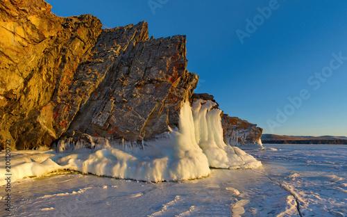 Russia. Fancy icy rocks of lake Baikal.