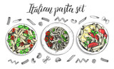 Spaghetti and penne pasta with cherry tomatoes and basil. Dish of Italian cuisine. Ink hand drawn set with brush calligraphy style lettering. Vector illustration. Top view. Food elements collection. - 200126733