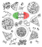Pasta dishes, pieces of pizza, ingredients of Italian cuisine. Set for the concept of menu design. Ink hand drawn food elements collection with brush calligraphy style lettering. Vector illustration. - 200126913