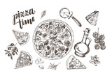 Pizza with pepperoni, olives and champignons, pieces of pizza, round knife, oil in a glass jug, parmesan. Set of Italian cuisine. Ink hand drawn Vector illustration. Food elements for menu design. - 200127162