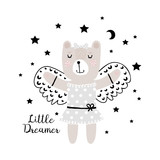 Cute little bear dreams of flying. Can be used for baby t-shirt print, fashion print design, kids wear, baby shower celebration greeting and invitation card. Girl.