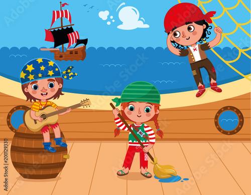 Three pirates having fun on the deck. (Vector illustration) - 200129330