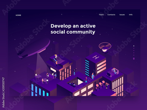 Sticker People on the roofs communicating and entertaining. Social networking platform concept. Landing page template. 3d vector isometric illustration.