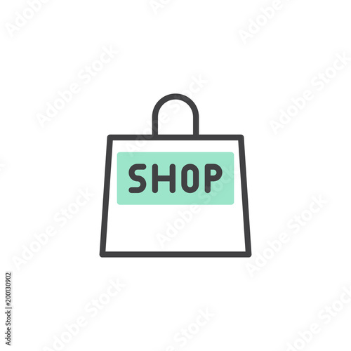 Shopping bag icon vector, linear flat sign, bicolor pictogram, green and gray colors. Shop symbol, logo illustration
