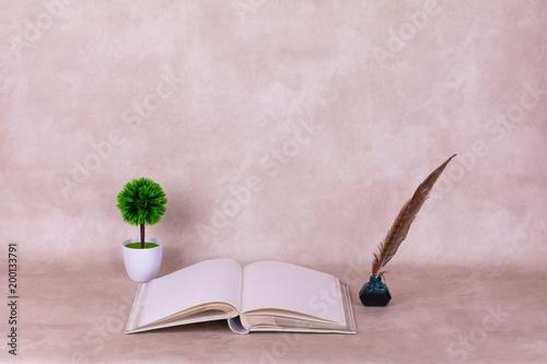 Otwórz książkę i długopis z tuszem