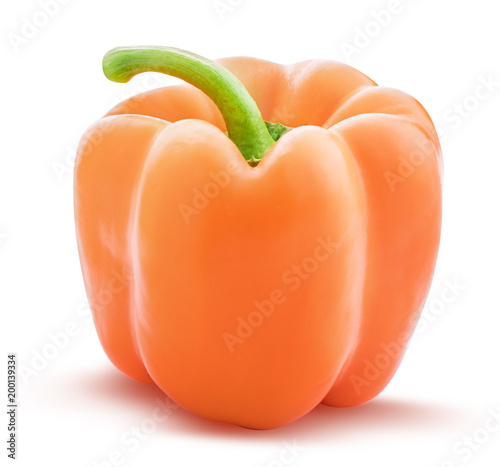 Fresh orange pepper isolated on white background with clipping path.
