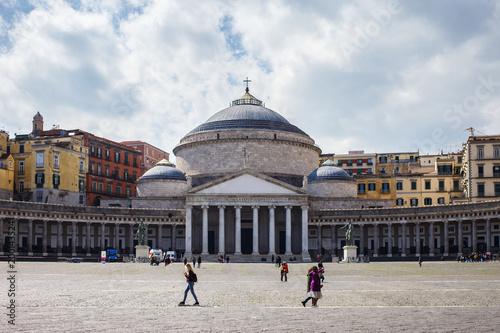 Fotobehang Napels square near San Francesco di Paola Church Piazza Plebiscito in Naples, Campania, Italy