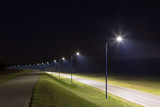 empty street at night with modern LED streetlights - 200143962