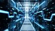 Leinwanddruck Bild - Shot of Corridor in Working Data Center Full of Rack Servers and Supercomputers with High Danger Skull Icon Visualization.