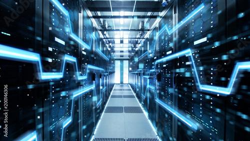 Leinwanddruck Bild Shot of Corridor in Working Data Center Full of Rack Servers and Supercomputers with High Danger Skull Icon Visualization.
