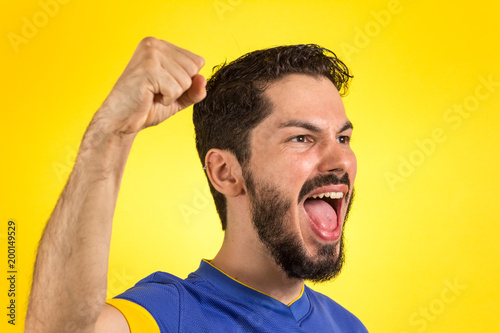 Brazilian soccer football athlete man celebrating.