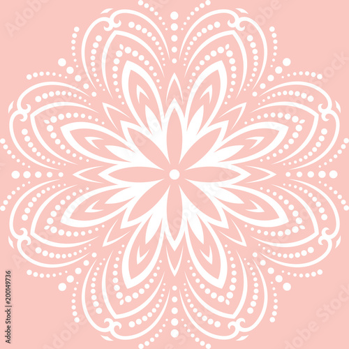 Oriental white pattern with arabesques and floral elements. Traditional classic ornament. Vintage pattern with arabesques - 200149736