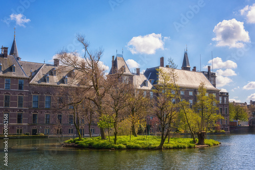 Binnenhof castle (Dutch Parliament) background with the Hofvijver lake, a complex of buildings in the Gothic style in the city centre of Hague (Den Haag), Netherlands