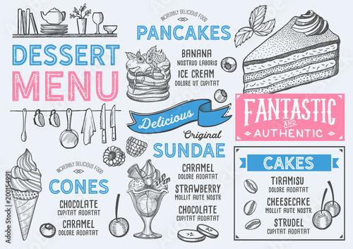 Sticker Dessert restaurant menu. Vector food flyer for bar and cafe. Design template with vintage hand-drawn illustrations.