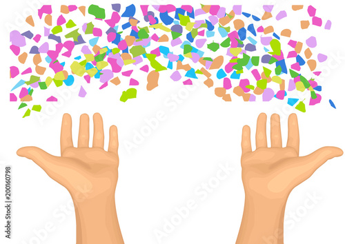 confetti and hands