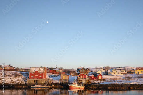 Residential area at the Salhus Strait and moon - 200164190
