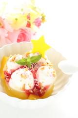Fancy Homemade ice cream with decoration sugar