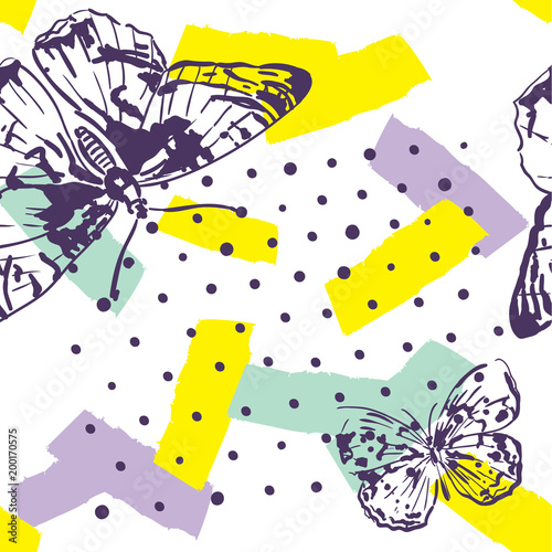 Repeated pattern with insects. Trendy pattern with butterflies  in hand drawn style. Background for textile, manufacturing, book covers, wallpapers, print or gift wrap. - 200170575