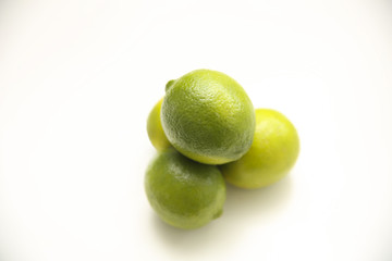 fresh limes in a isolated background