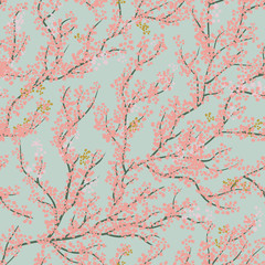 Background seamless pattern with sakura tree. Beautiful Japanese background with pink sakura blossom on a blue background- Japanese cherry tree.Vector illustration