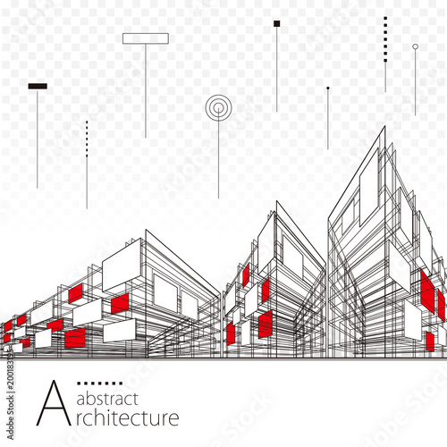 Architecture creative city building perspective lines, modern urban architecture abstract background.   - 200183195